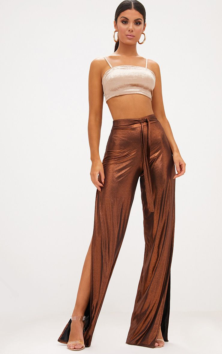 Copper Metallic Tie Waist Wide Leg Trousers