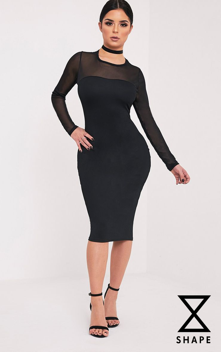 Shape Ivine Black Mesh Top Crepe Midi Dress