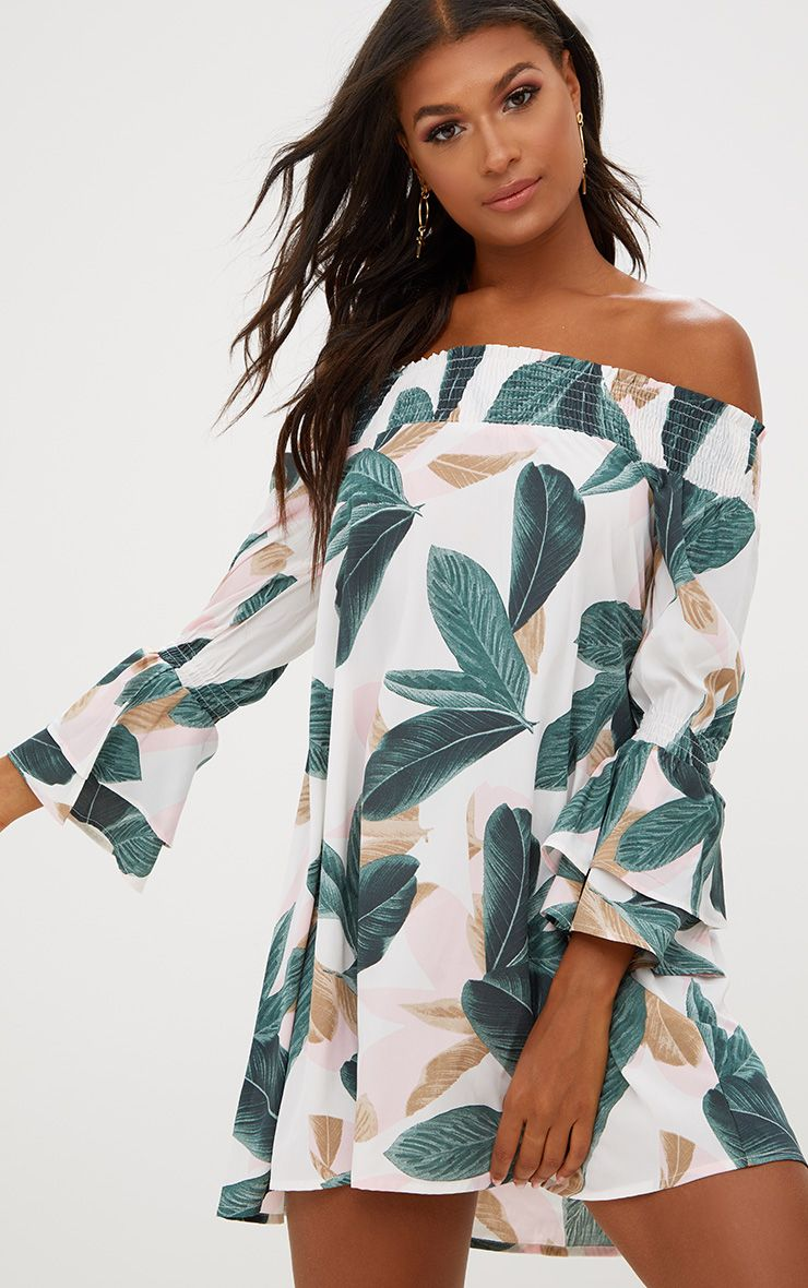 White Palm Print Bardot Shift Dress