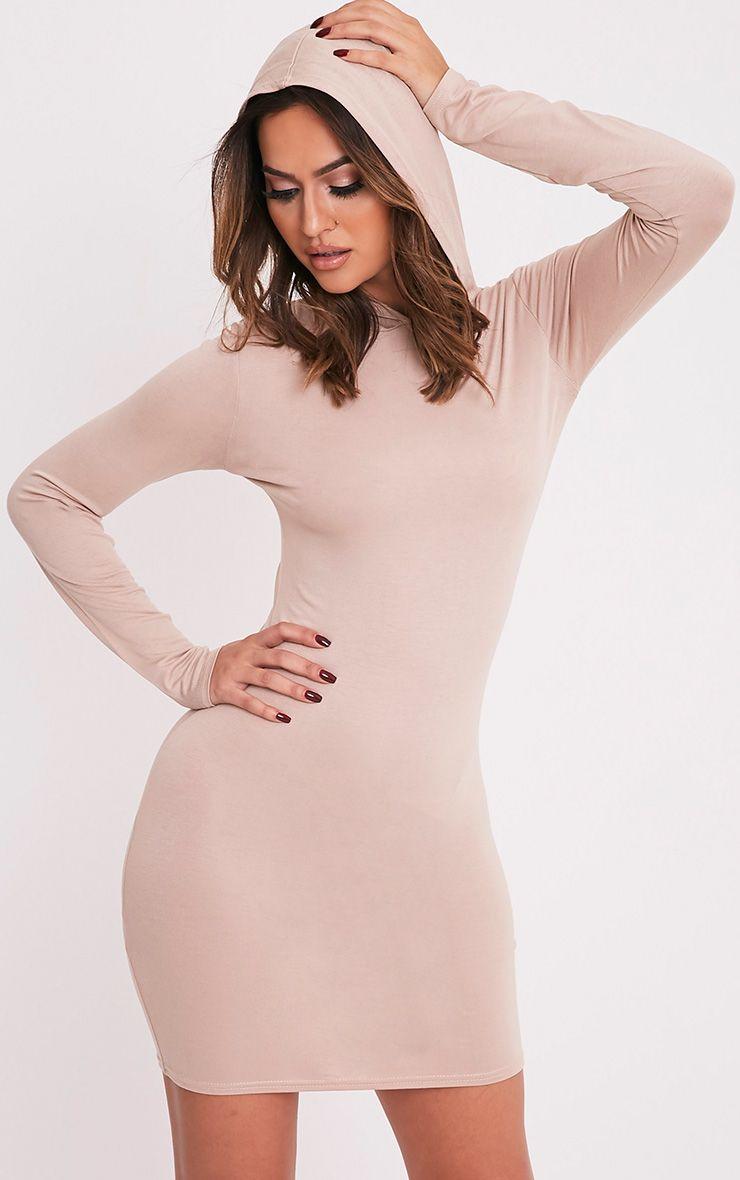 Jessie Nude Hooded Bodycon Dress 1
