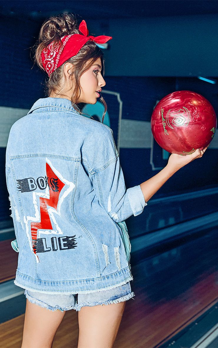 Light Wash Boys Lie Oversized Denim Jacket