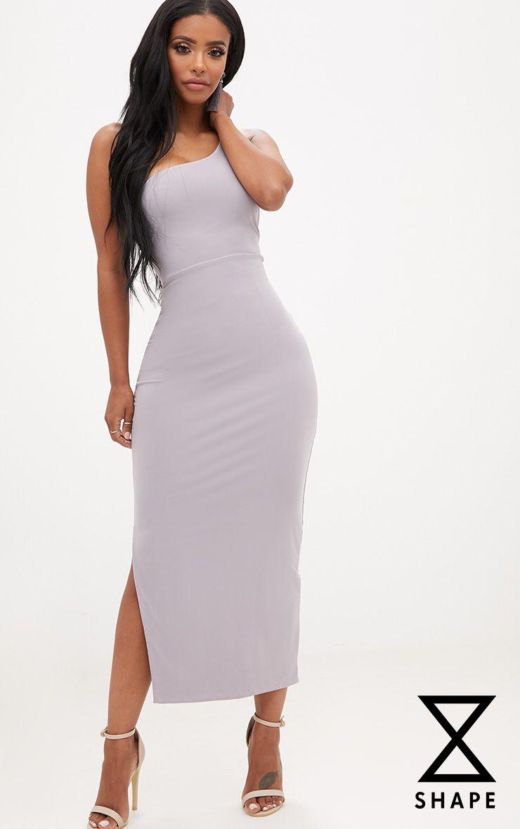 Shape Ice Grey One Shoulder Midaxi Dress