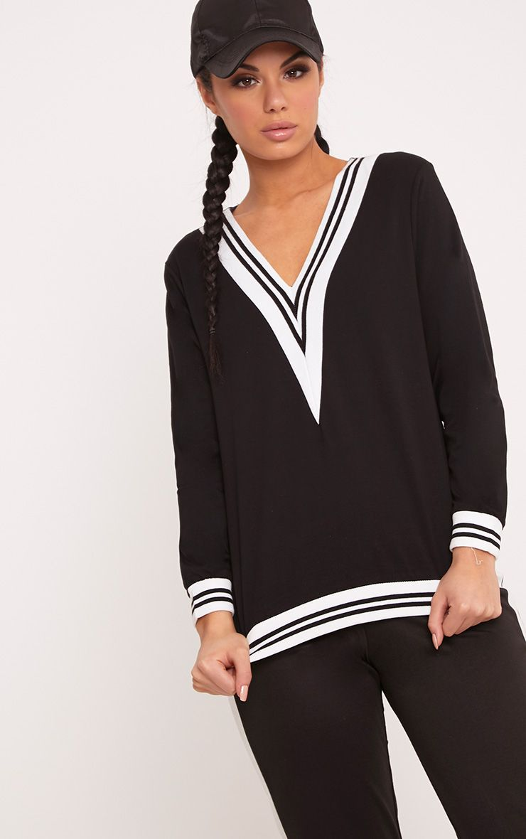 Deborah Black Stripe Trim V Neck Sweater