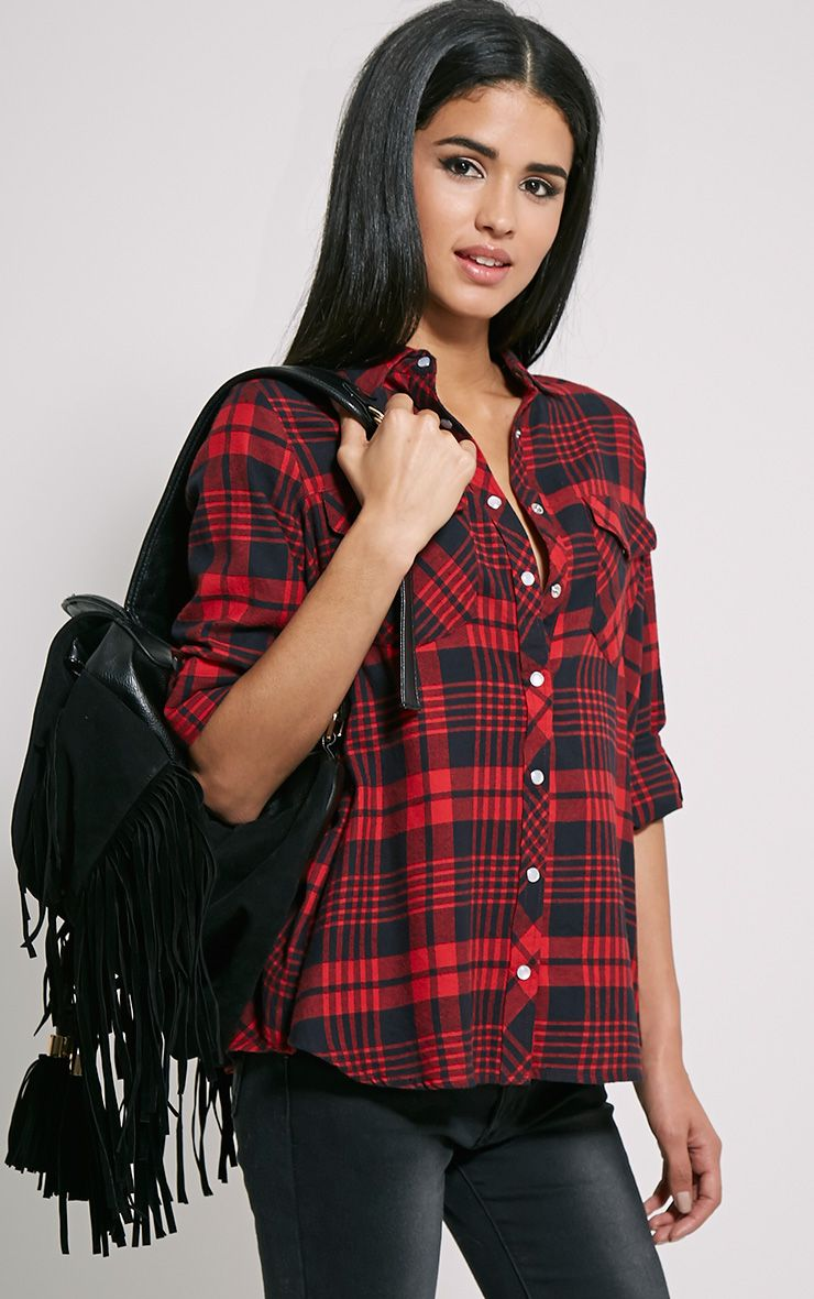 Toria Oversized Checked Shirt 1