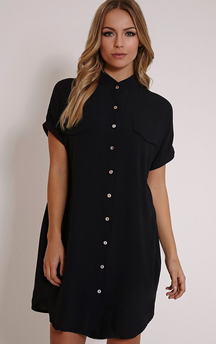 Valeria Black Cap Sleeve Shirt Dress