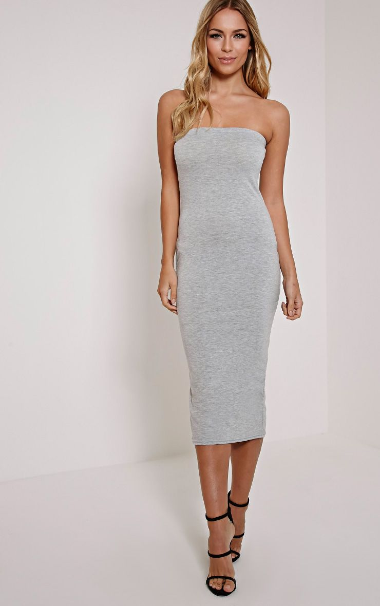 Basic Grey Jersey Bandeau Midi Dress 1