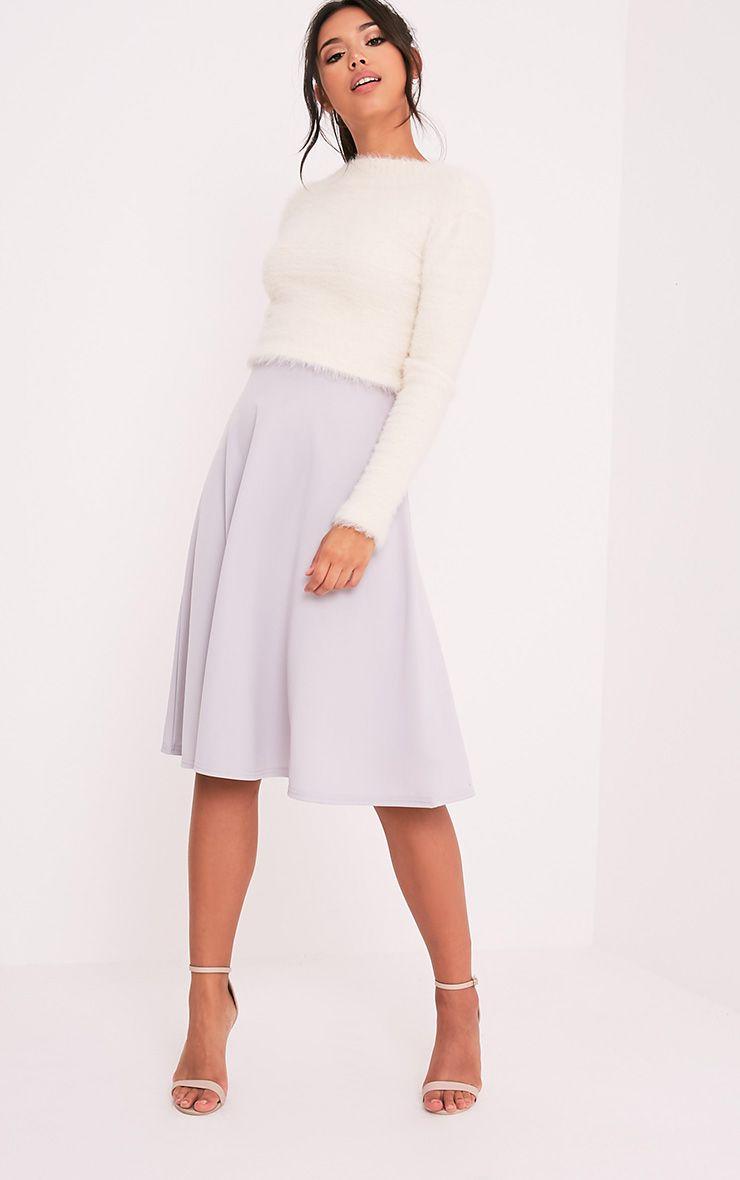 Kasey Grey Full A-Line Midi Skirt 1