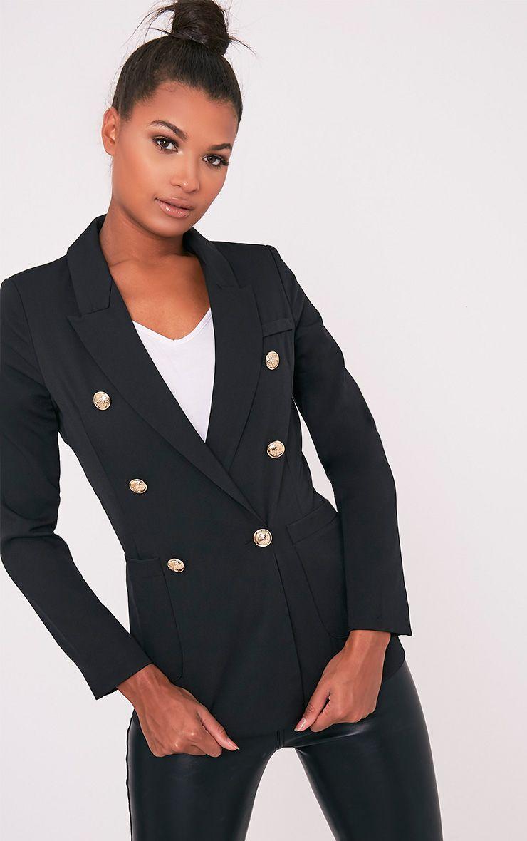 Pari Black Double Breasted Military Style Blazer