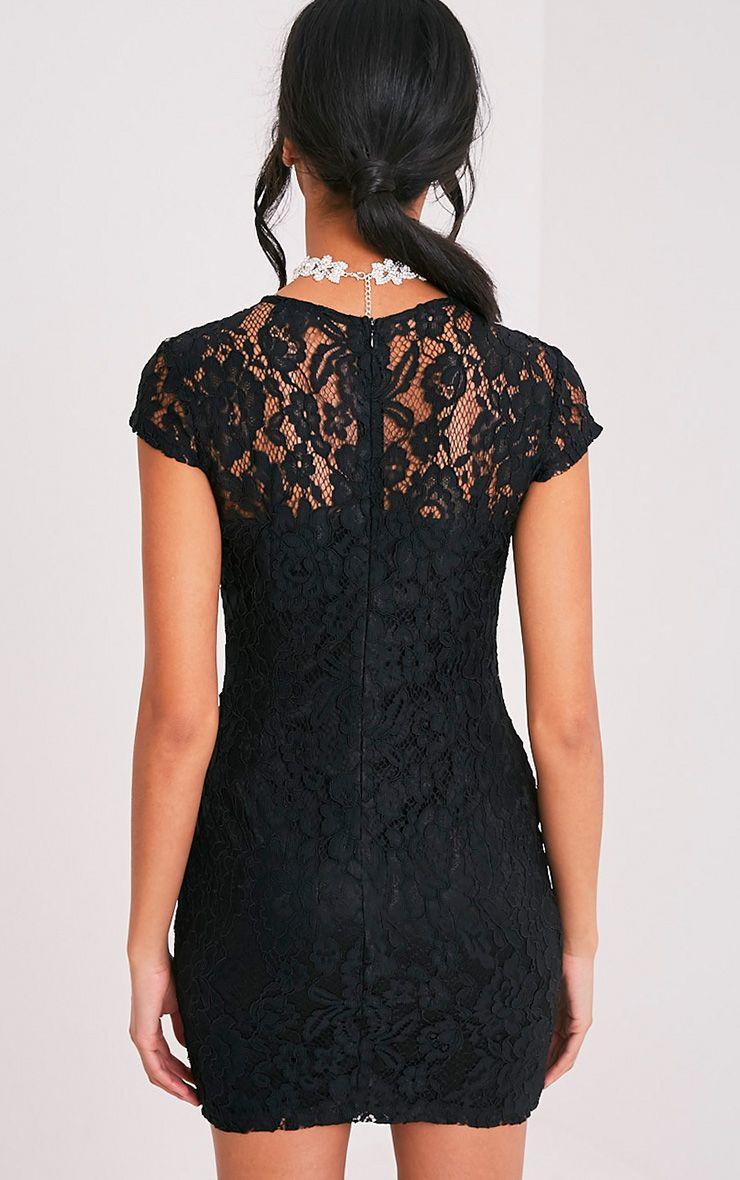 Natasha robe moulante noire en dentelle à manches courtes 2