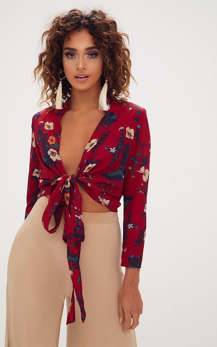 Burgundy Print Tie Front Blouse