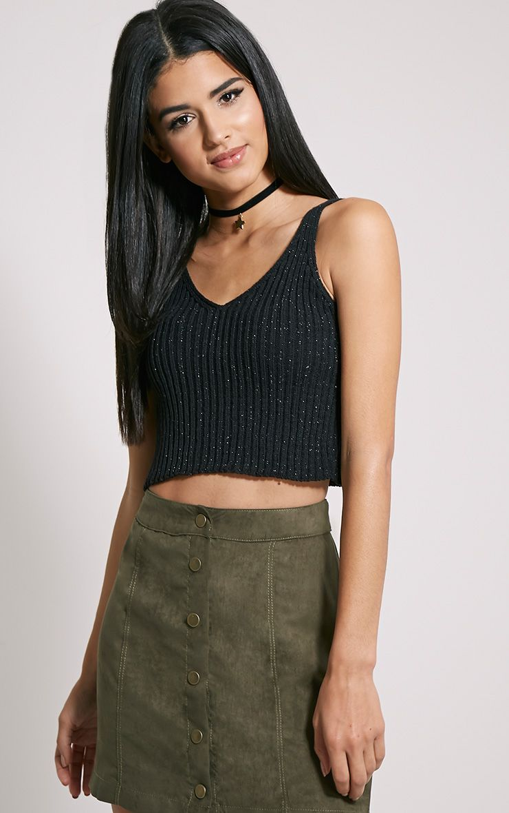 Naya Black Glitter Knitted Vest Top 1