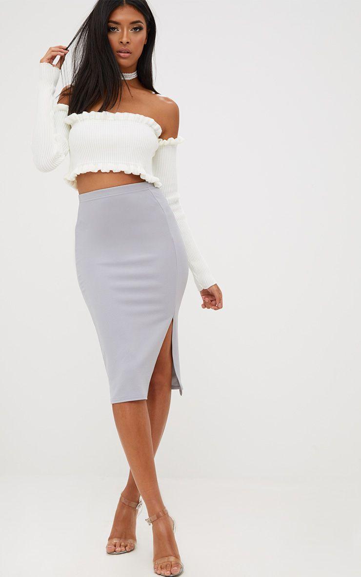 Grey Basic Split Midi Skirt