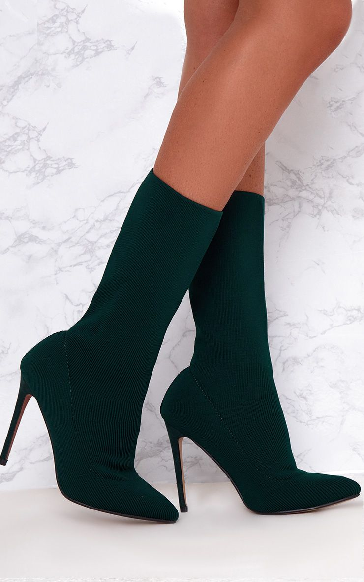 Forest Green Knitted Pointy Sock Boots