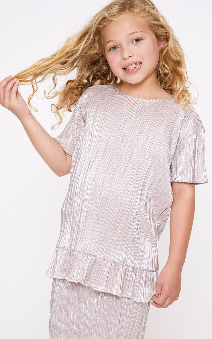 Pleated Foil Frill Hem Champagne Top