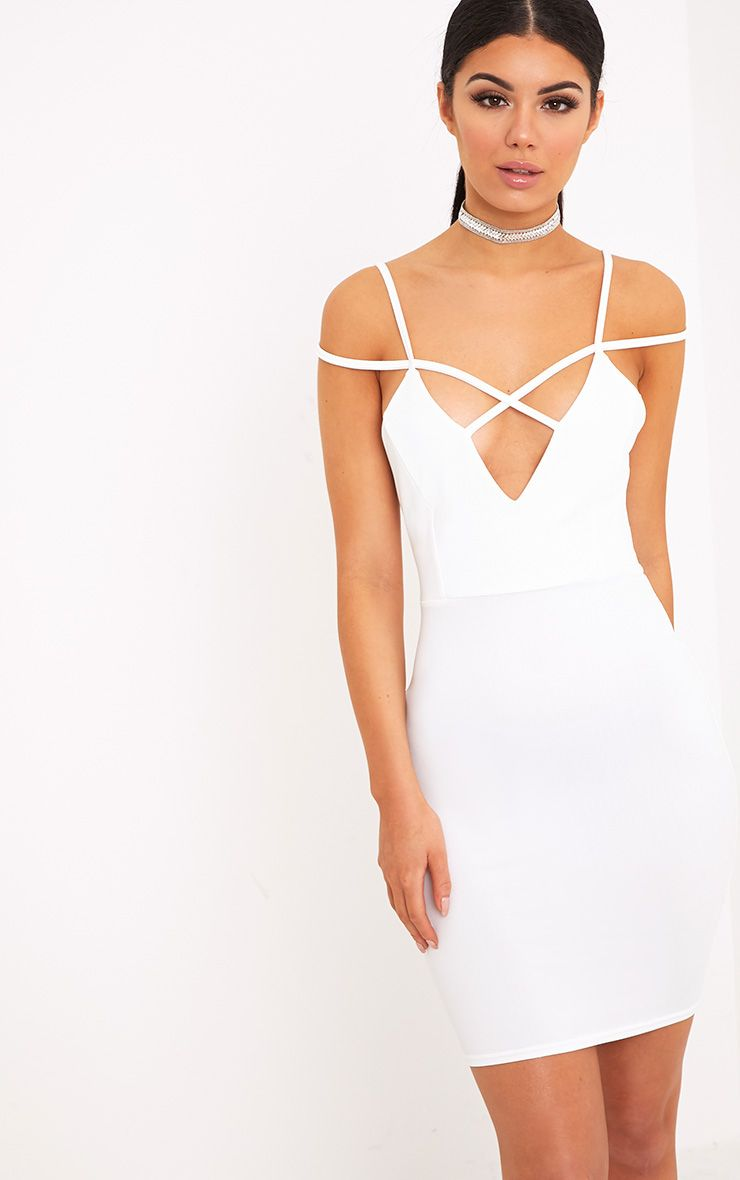 Marabelle White Strap Detail Bardot Bodycon Dress 1