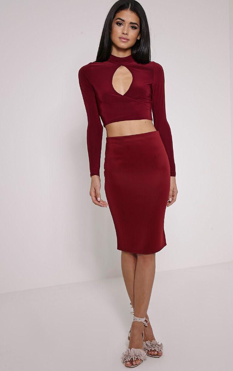 Winnie Wine Scuba Midi Skirt 1