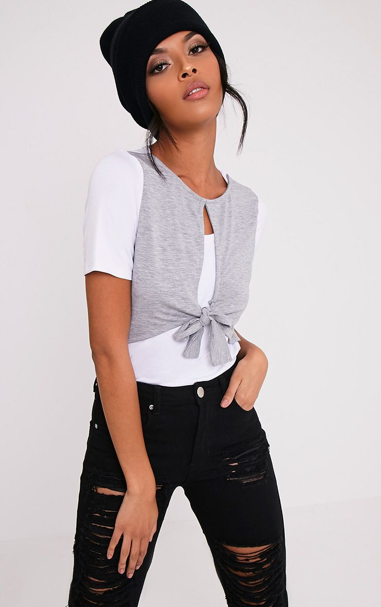 Louise Grey Contrast Bow Front T Shirt