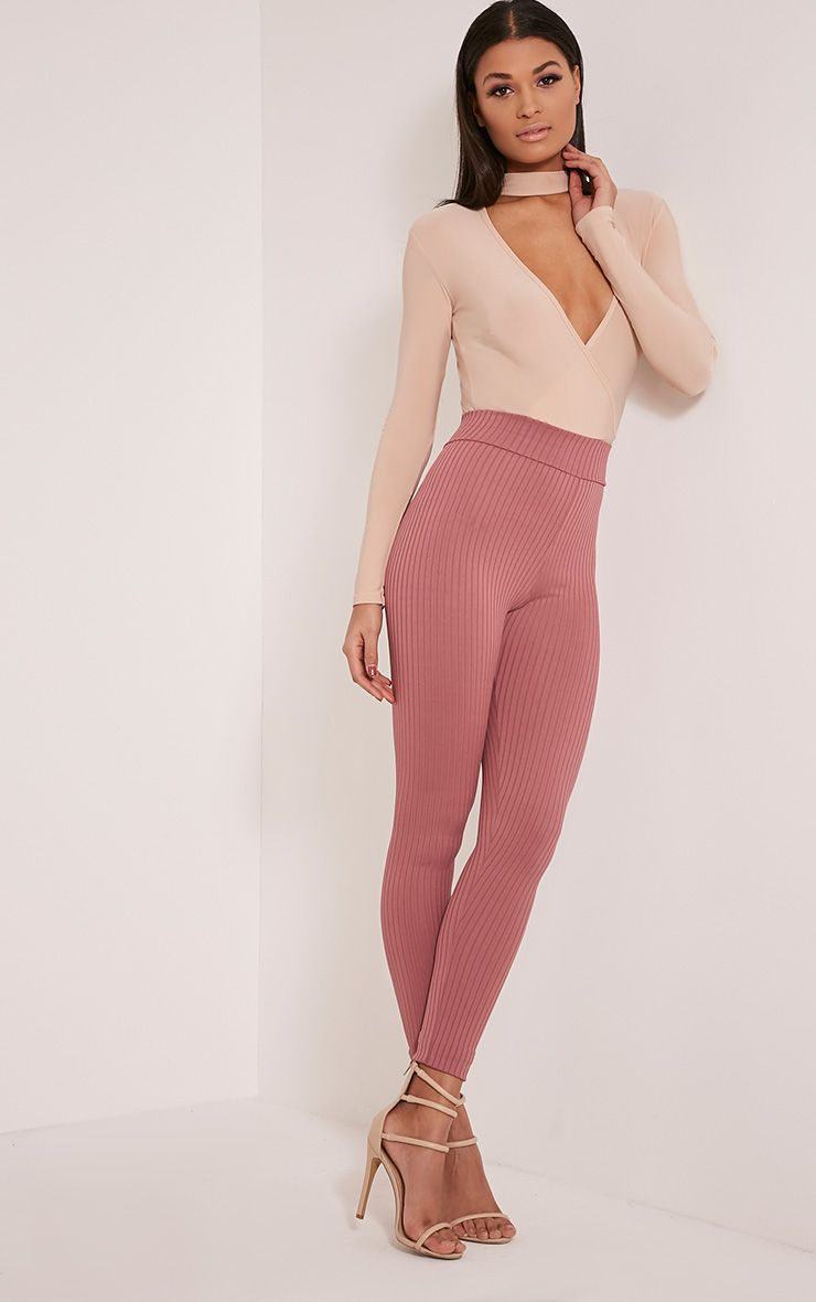 Harlie Rose Ribbed High Waisted Leggings
