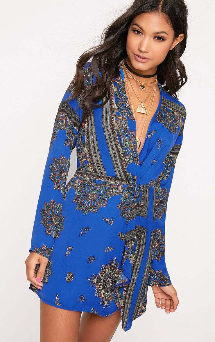 Thandie Cobalt Silky Long Sleeve Wrap Dress 1