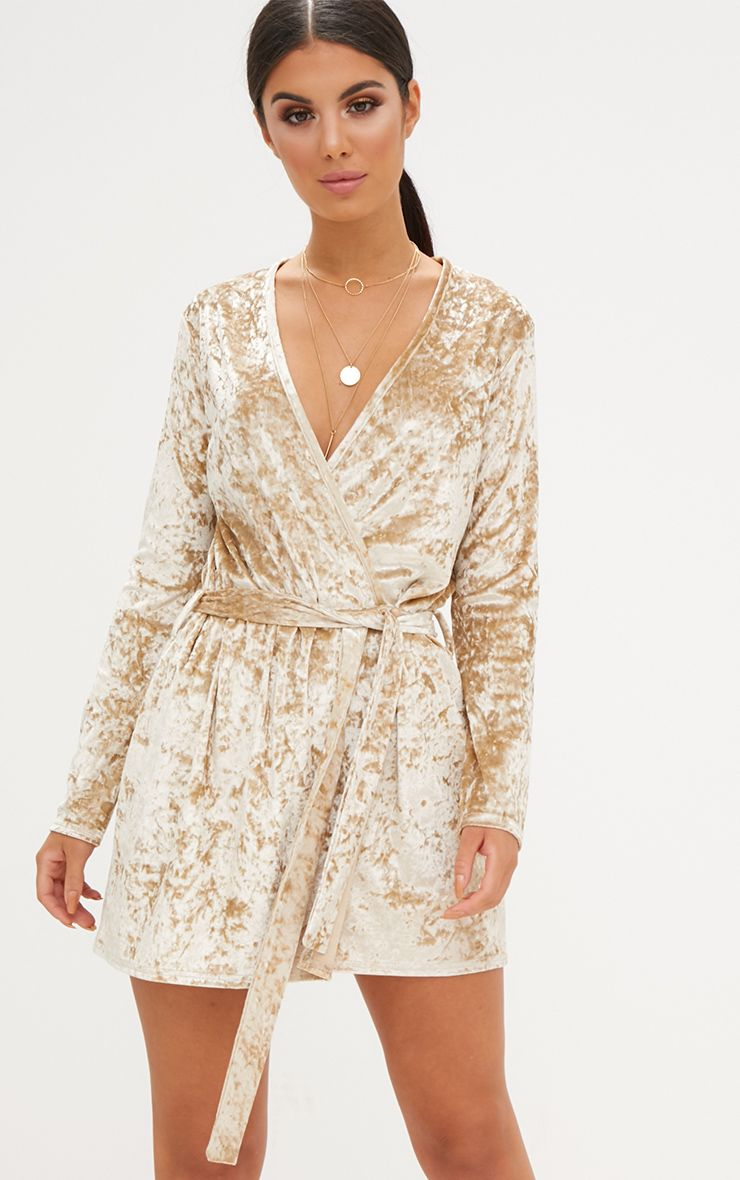 Champagne Velvet Wrap Over Shift Dress