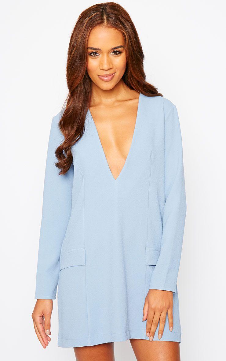 Jemima Powder Blue Loose Fit Blazer Dress 1
