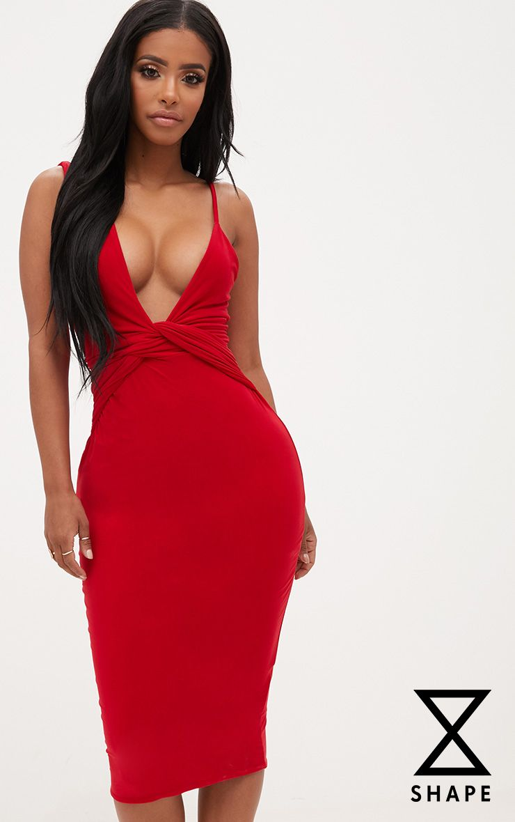 Shape Red Knot Front Plunge Midi Dress
