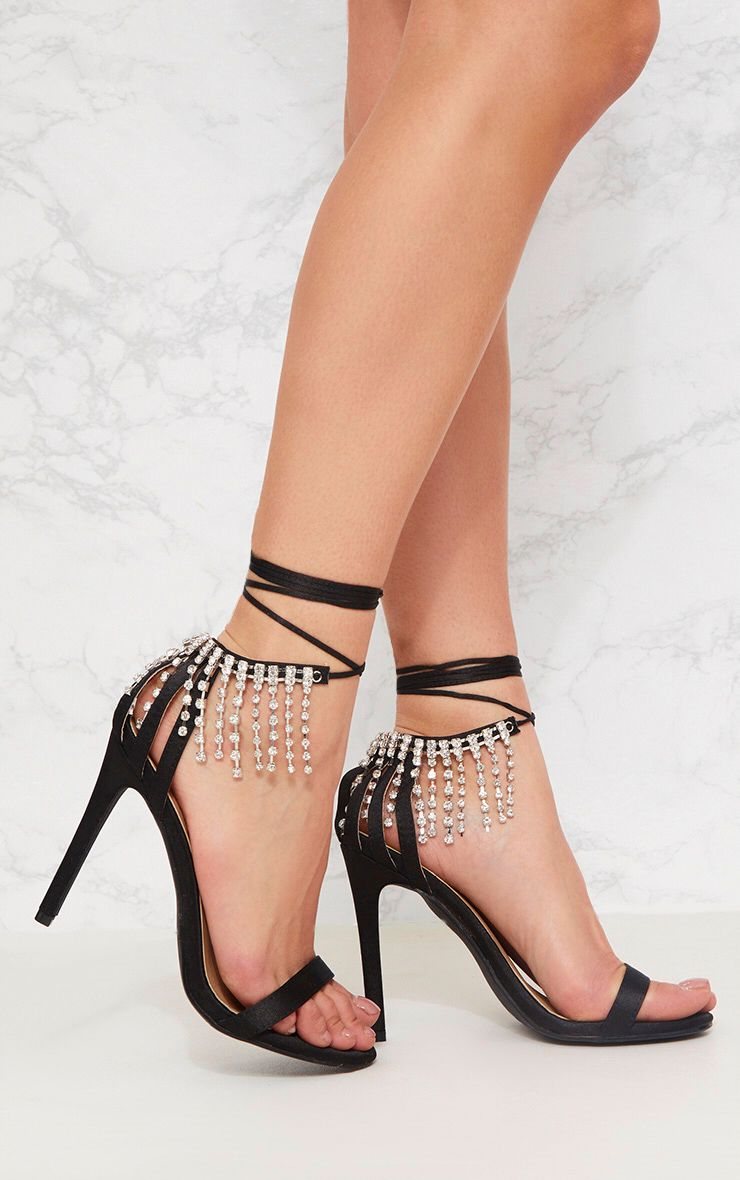Black Diamante Heel Sandal