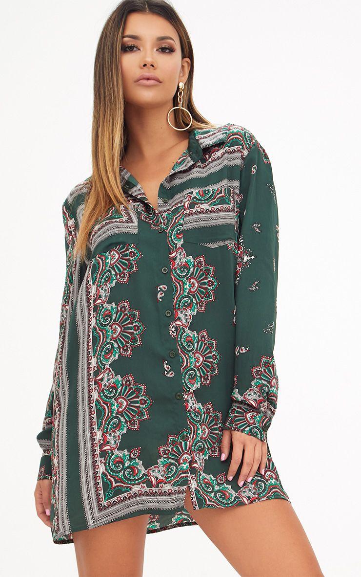 Robe chemise vert sapin imprimé foulard 1