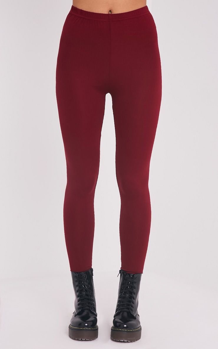 Basic legging en jersey bordeaux 2