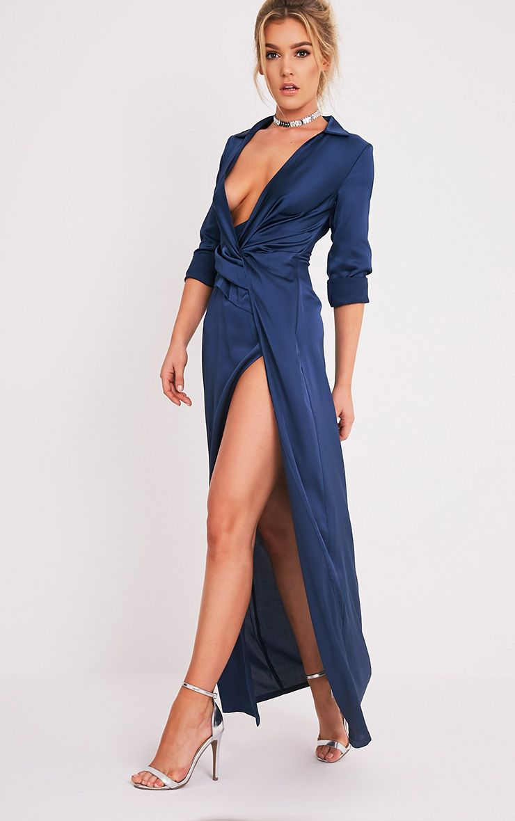 Alyssia Navy Twist Front Maxi Shirt Dress