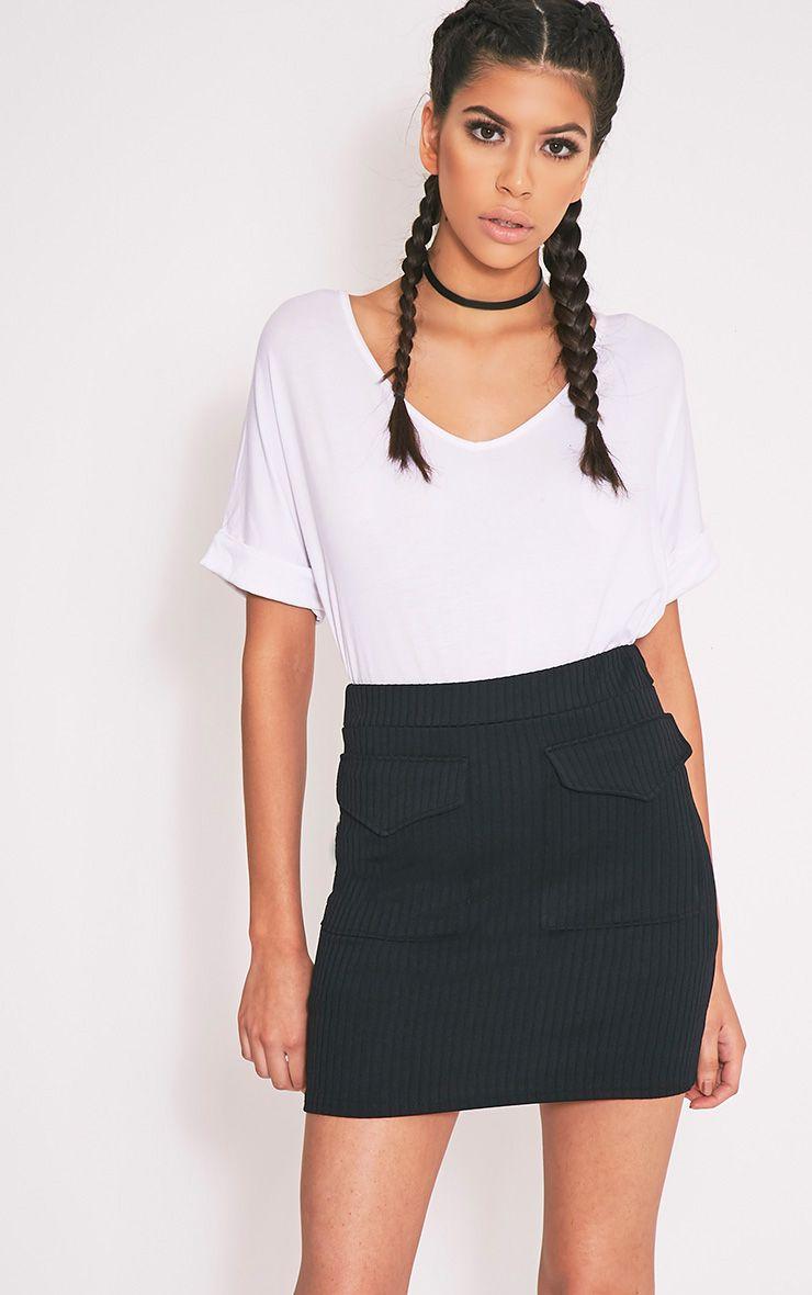 Esta Black Pocket Ribbed Mini Skirt 1