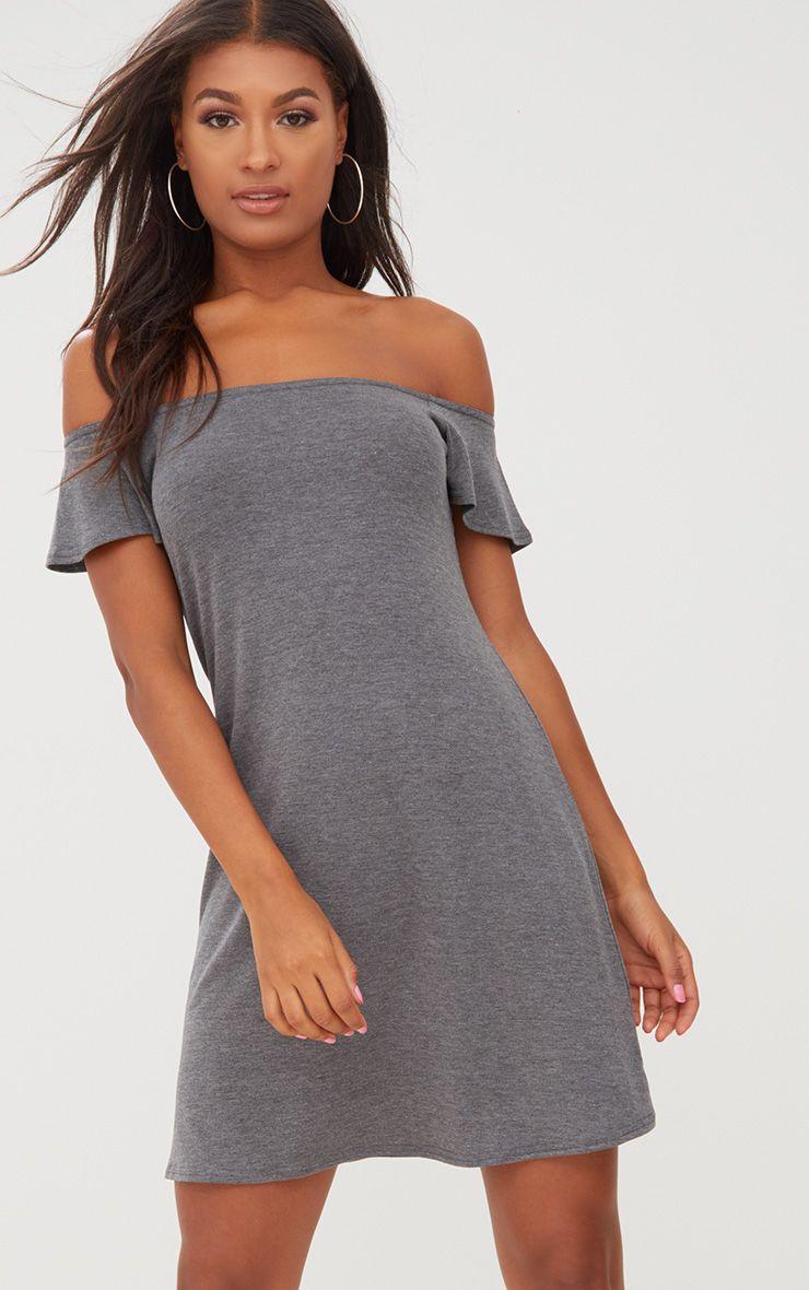 Manina Charcoal Jersey Bardot Shift Dress