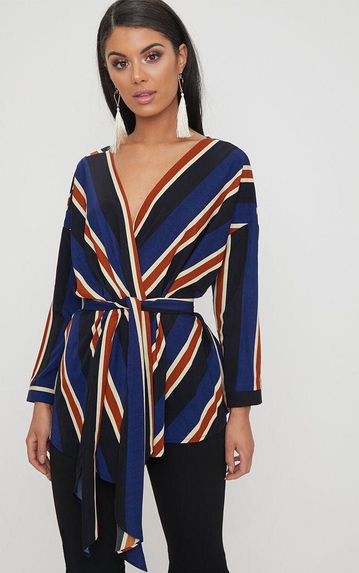 Blue Bold Stripe Tie Waist Blouse 1