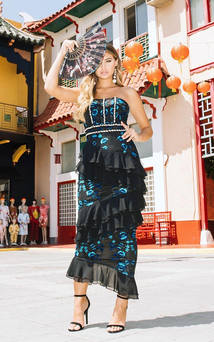 Premium Black Embroidered Ruffle Detail Midaxi Bandeau Dress