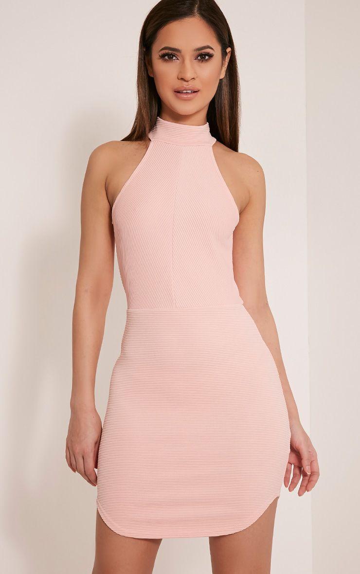 Kandice Blush Racer Neck Ribbed Mini Dress 1