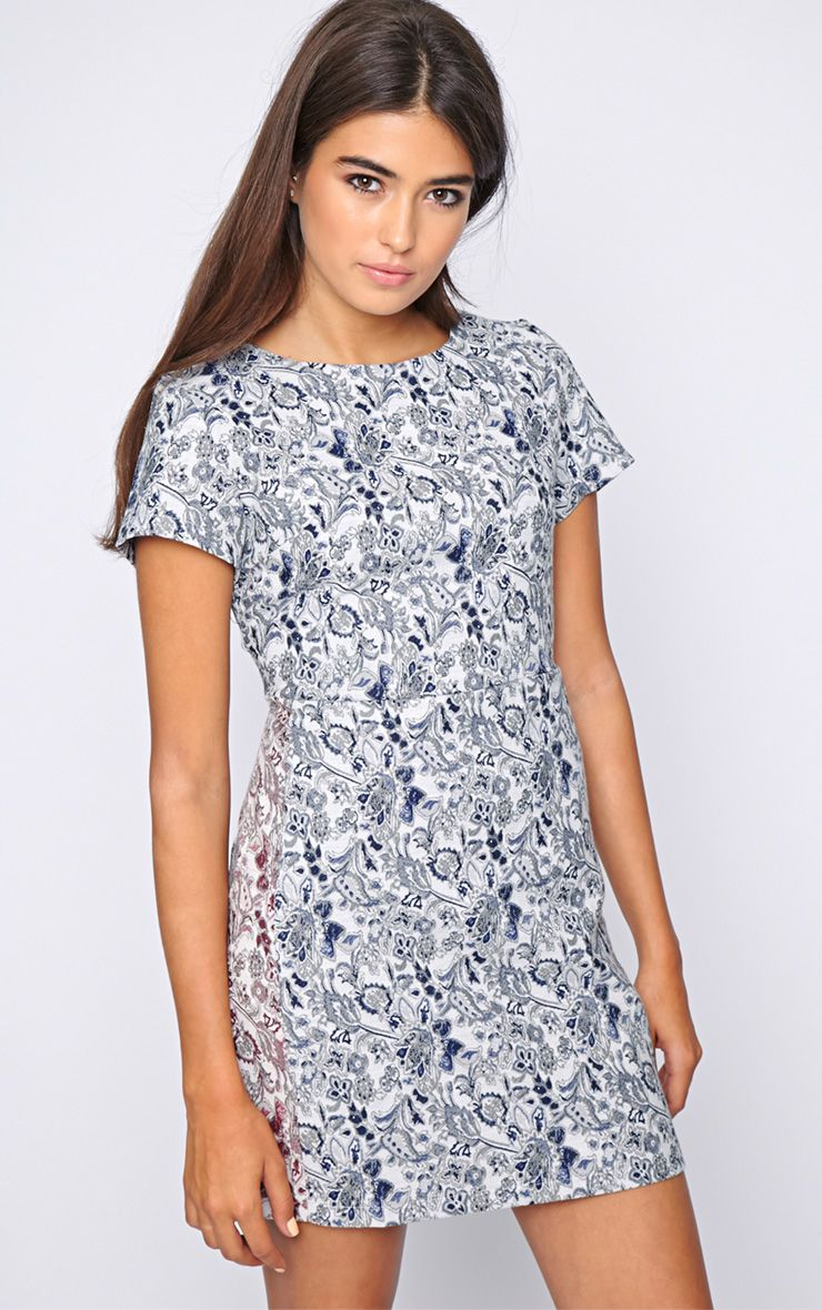 Arya Blue Paisley Print Shift Dress 1