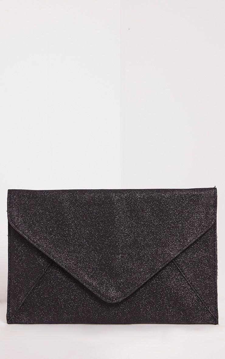 Paige Black Glitter Clutch Bag 1