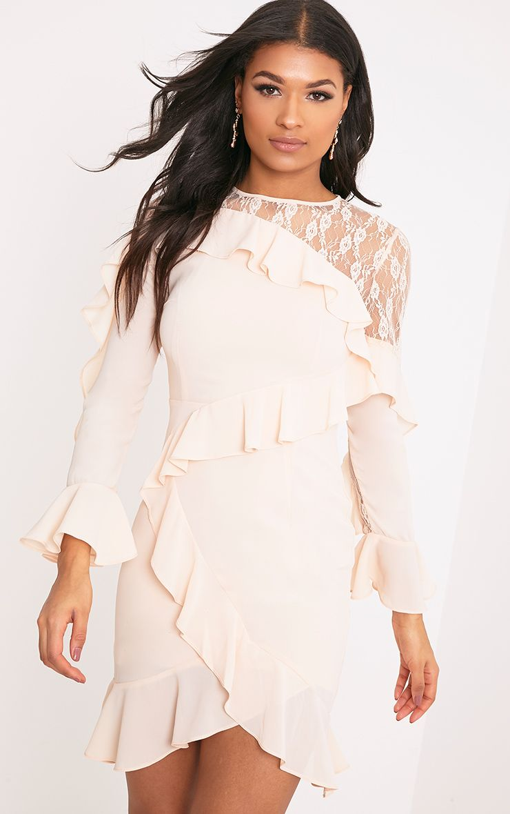 Mia Blush Frill Detail Shift Dress