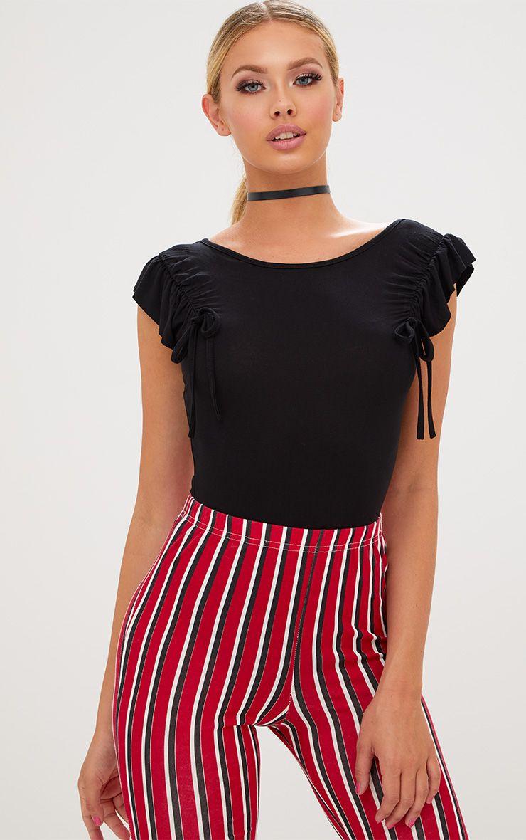 Black Jersey Frill Drawstring Shoulder Thong Bodysuit