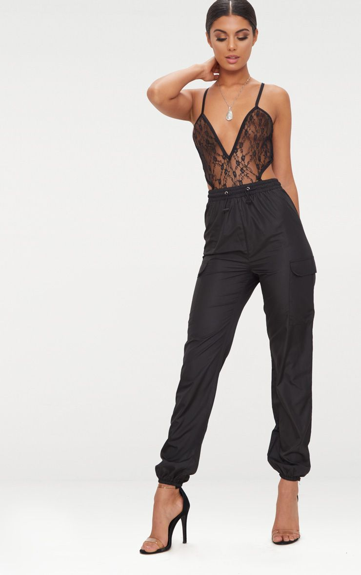 Black Toggle Waist Shell Suit Joggers