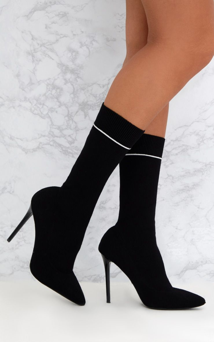Black Contrast Piping Knitted Pointy Sock Boots