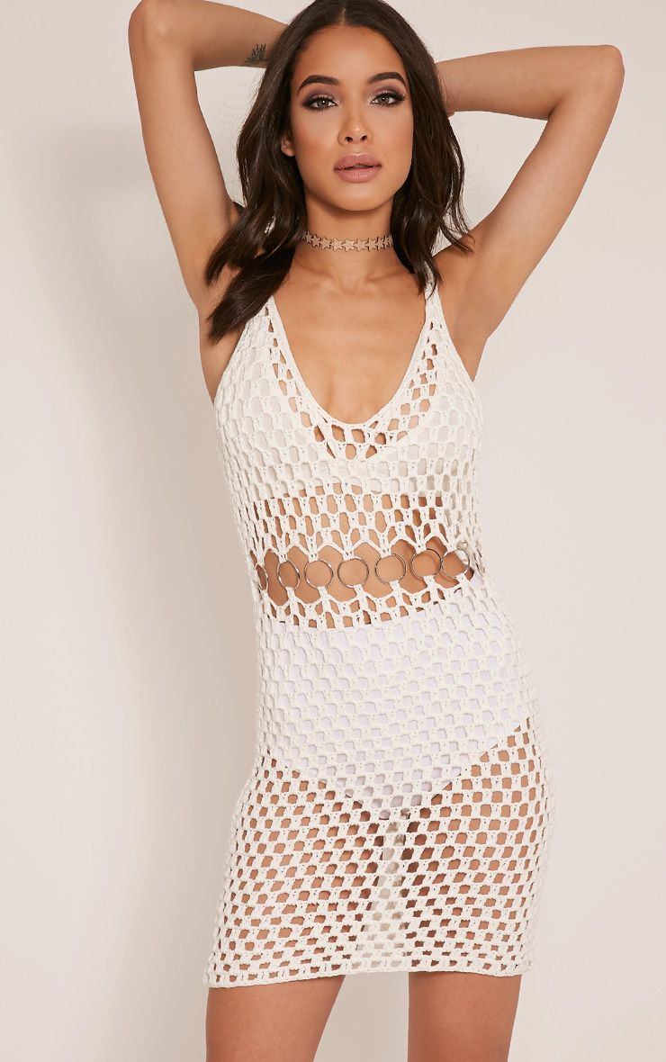 Vivien Cream Ring Detail Crochet Knitted Dress