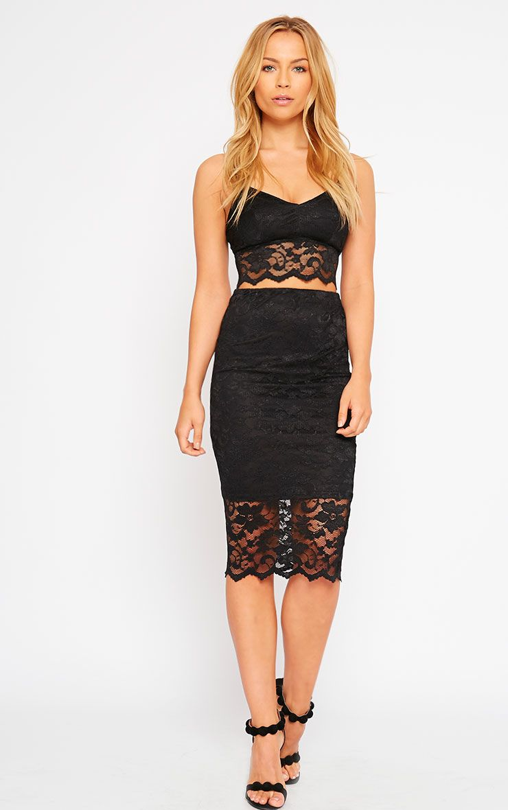 Corinna Black Lace Midi Skirt 1