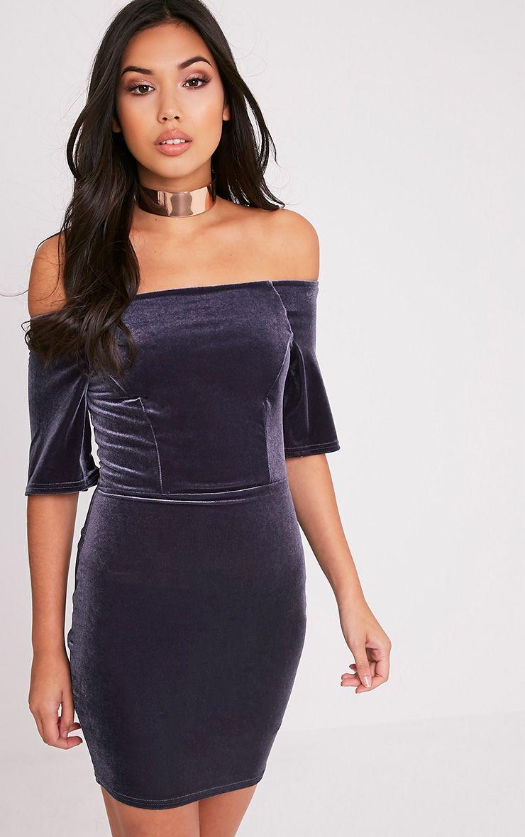 Elonia Grey Velvet Bardot Bodycon Dress