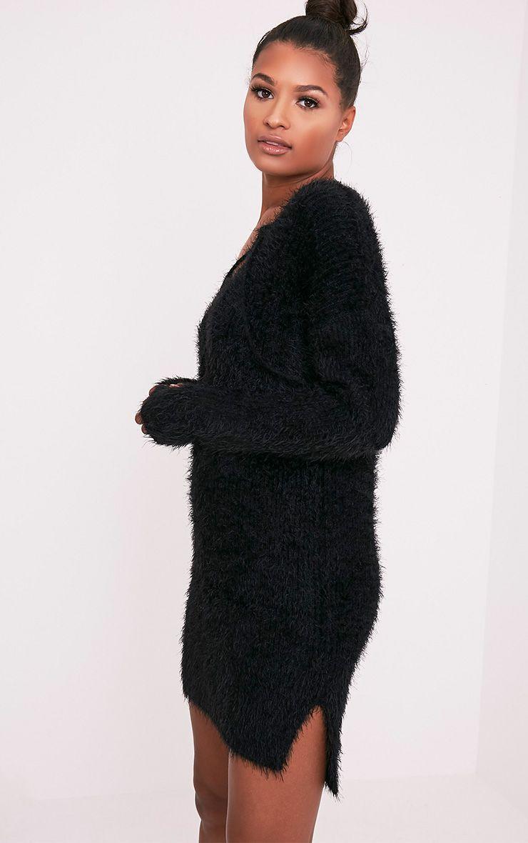 Floraline robe pull noire en mohair à lacets 4