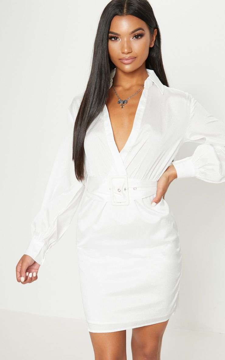 dbb0ddc50ed PRETTYLITTLETHING. WHITE PLUNGE BELTED SHIRT DRESS