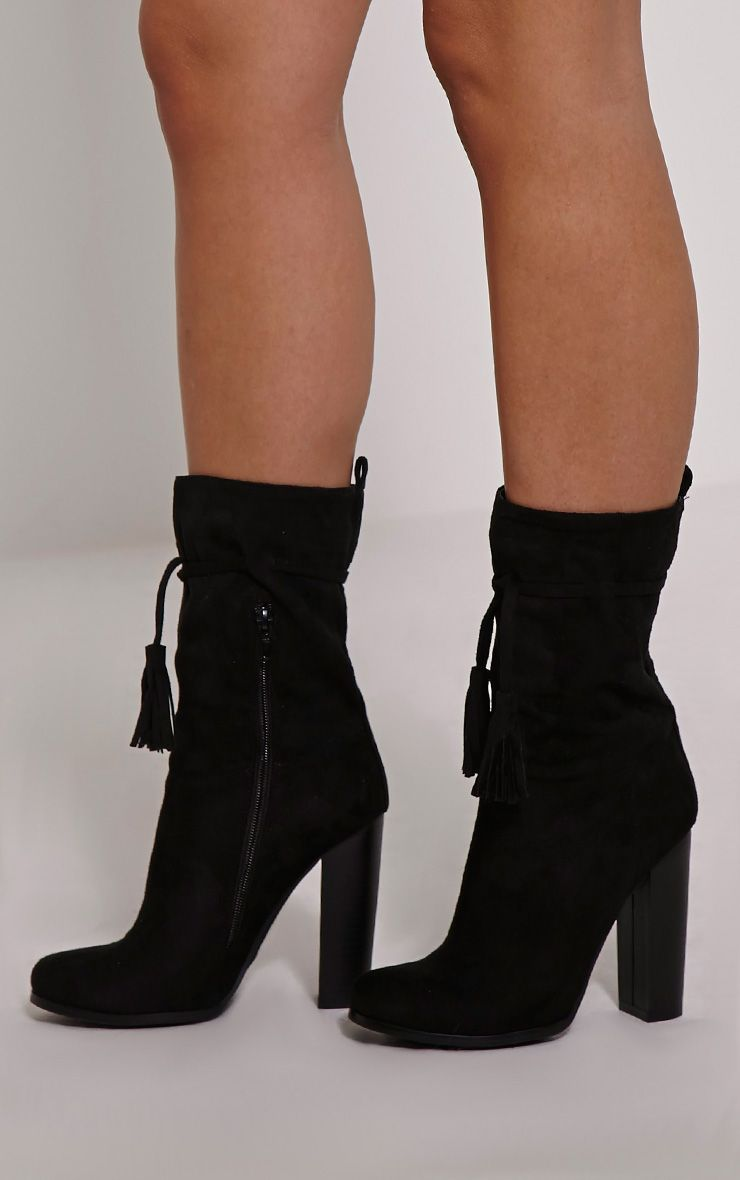 Faiza Black Suede Tassel Detail Calf Boots 1
