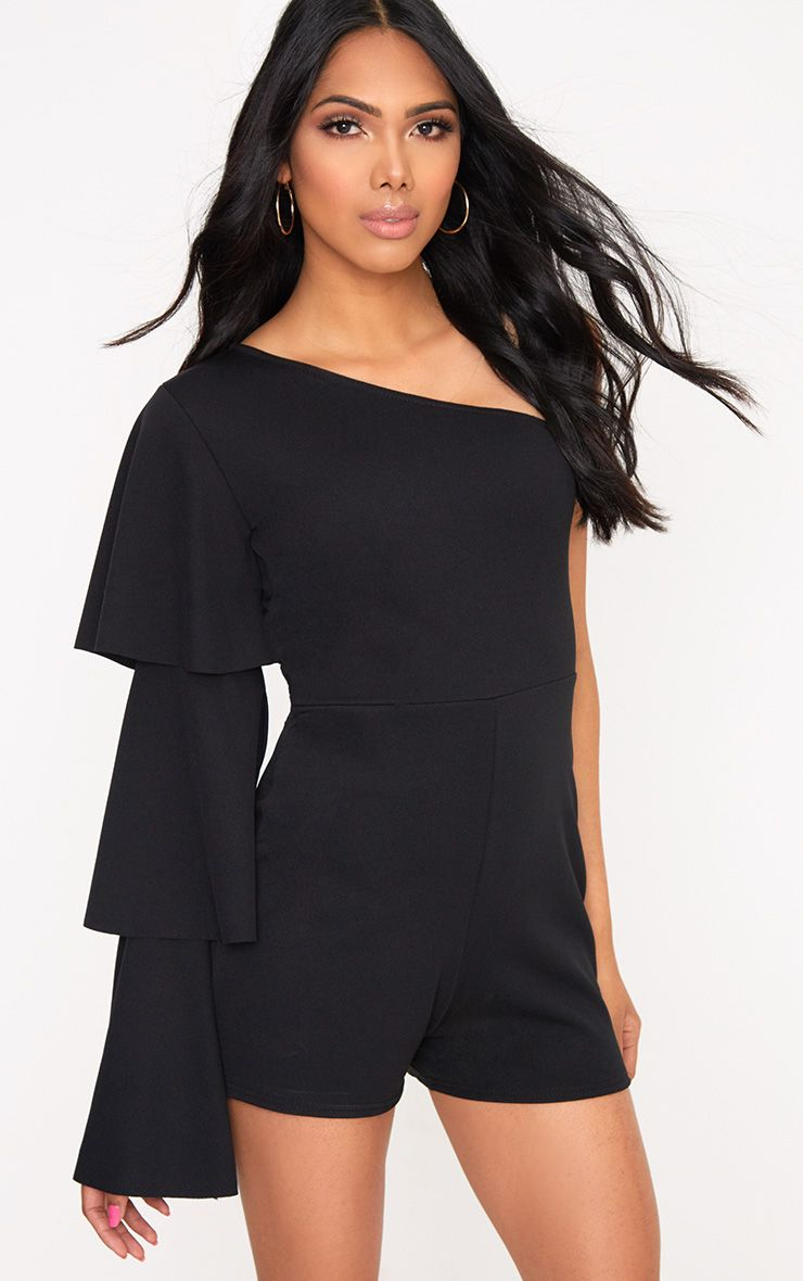 Black One Arm Frill Playsuit