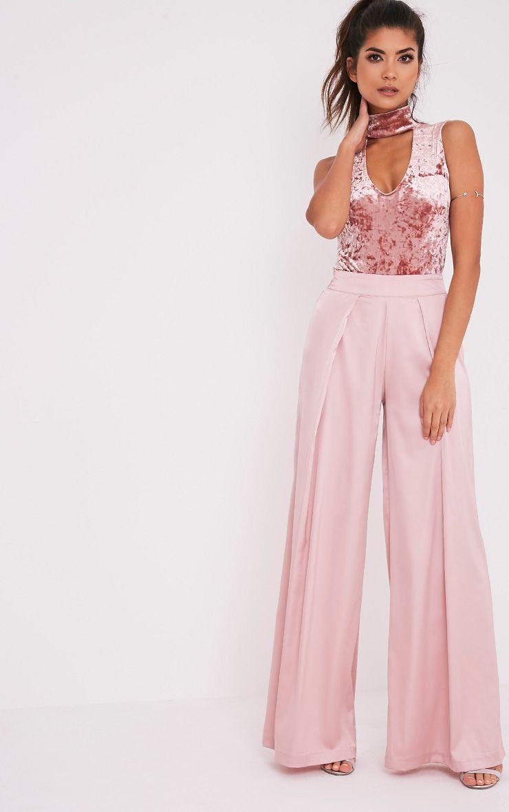 Melani body-string en velours ras du cou montant rose poudré 7