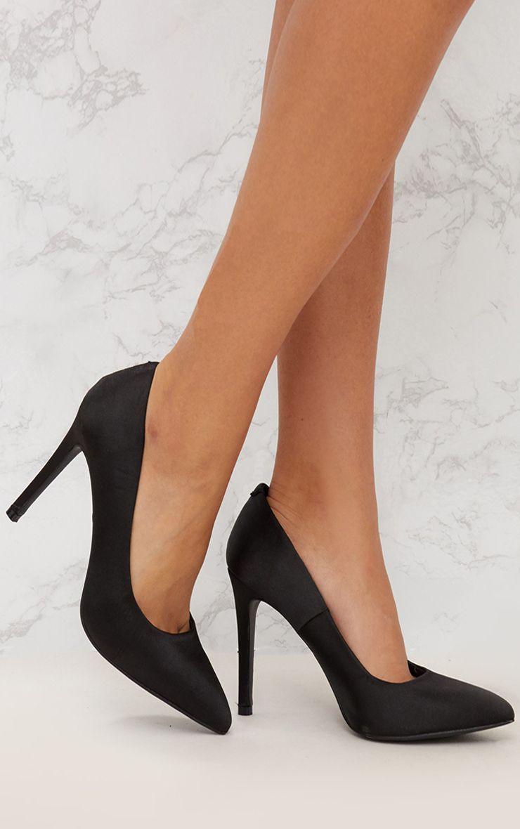 Black Satin Pointed Heeled Court Shoe 1